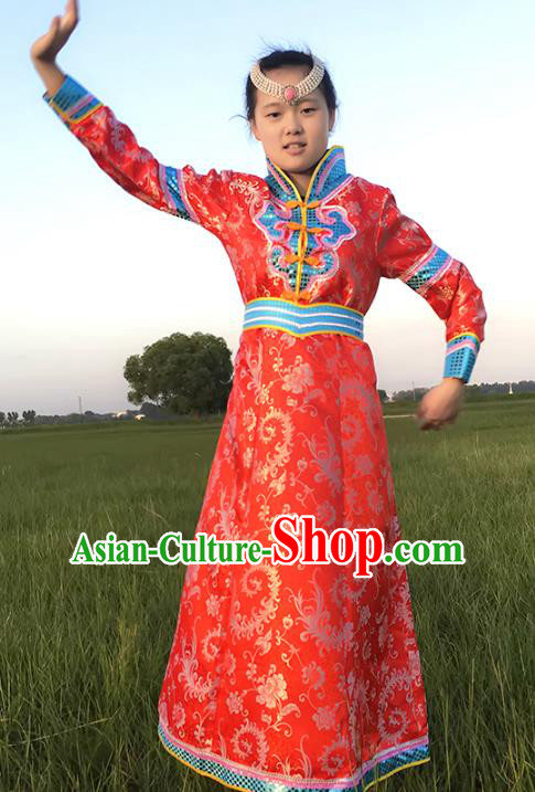 Chinese Mongol Nationality Ethnic Costume, Traditional Mongolian Folk Dance Clothing Red Mongolian Robe for Women