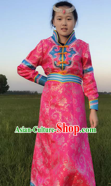 Chinese Mongol Nationality Ethnic Costume, Traditional Mongolian Folk Dance Clothing Pink Mongolian Robe for Women