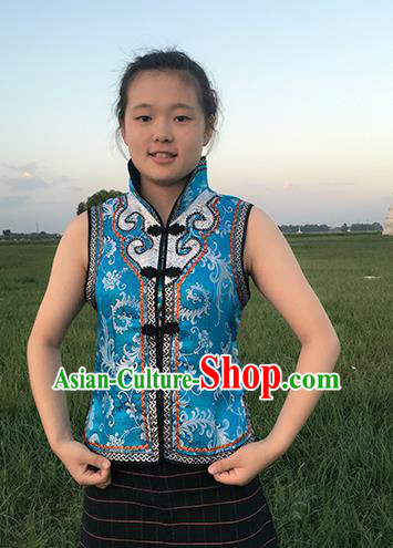 Chinese Mongol Nationality Ethnic Costume Blue Vests, Traditional Mongolian Folk Dance Waistcoat for Women