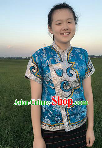 Chinese Mongol Nationality Ethnic Blue Blouse Costume, Traditional Mongolian Folk Dance Waistcoat for Women