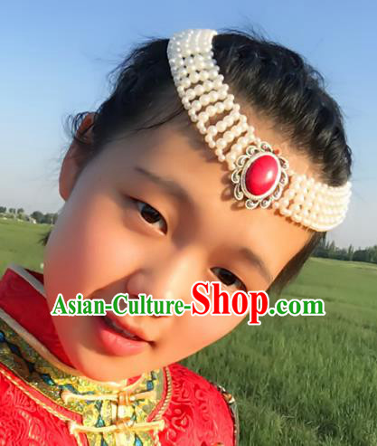Traditional Chinese Mongol Nationality Princess Hair Accessories, Mongolian Minority Hair Jewelry Dance Headwear for Women
