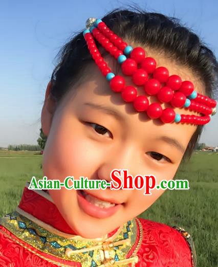 Traditional Chinese Folk Dance Hair Accessories, Mongolian Minority Red Beads Hair Jewelry Dance Headwear for Women
