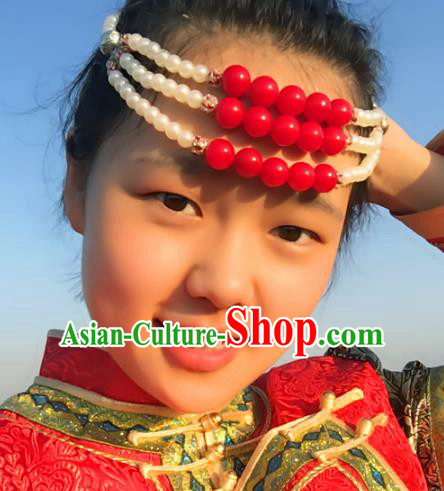 Traditional Chinese Folk Dance Hair Accessories, Mongolian Minority White Beads Hair Jewelry Dance Headwear for Women