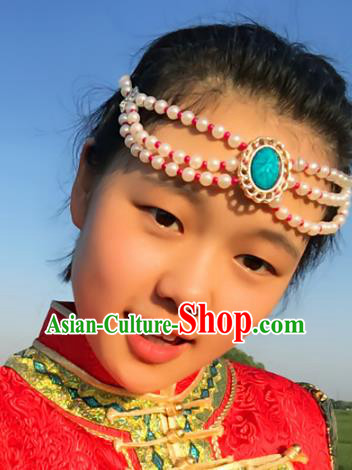 Traditional Chinese Folk Dance Hair Accessories, Mongolian Minority White Pearls Hair Jewelry Dance Headwear for Women