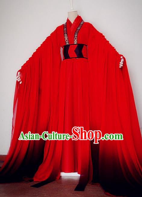 Chinese Ancient Cosplay Nobility Childe Red Costume Jin Dynasty Swordsman Clothing for Men