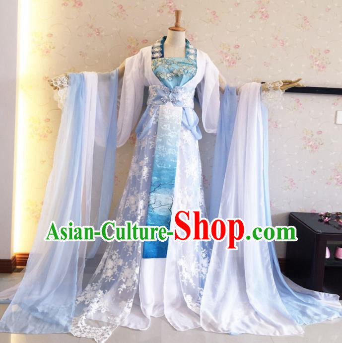 Chinese Ancient Cosplay Fairy Swordswoman Costume Traditional Tang Dynasty Princess Green Hanfu Dress for Women