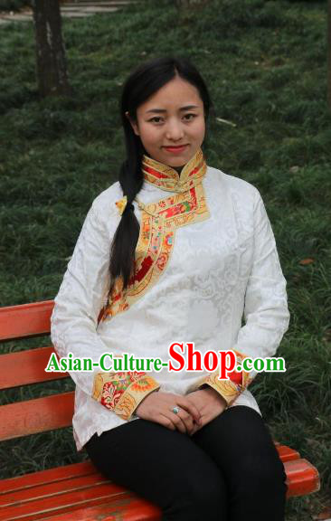 Chinese Traditional Minority Costume Zang Nationality White Blouse for Women