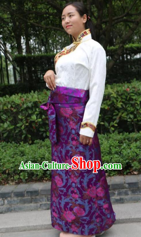 Chinese Traditional Minority Costume Zang Nationality Purple Brocade Bust Skirt for Women