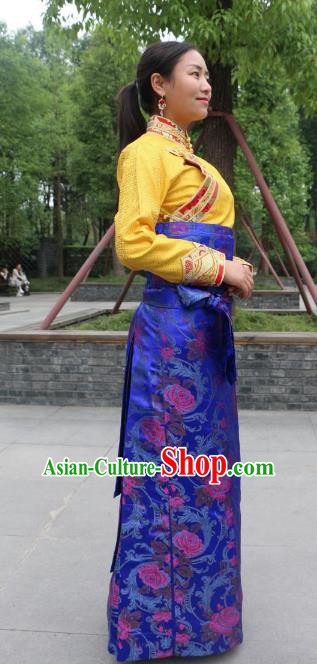 Chinese Traditional Minority Costume Zang Nationality Royalblue Brocade Bust Skirt for Women