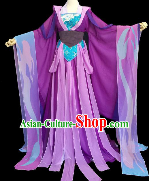 Chinese Ancient Cosplay Court Queen Costume Traditional Tang Dynasty Palace Lady Purple Hanfu Dress for Women