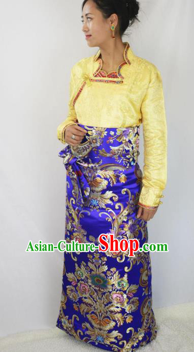 Chinese Traditional Minority Dance Costume Zang Nationality Tibetan Minority Royalblue Skirt for Women