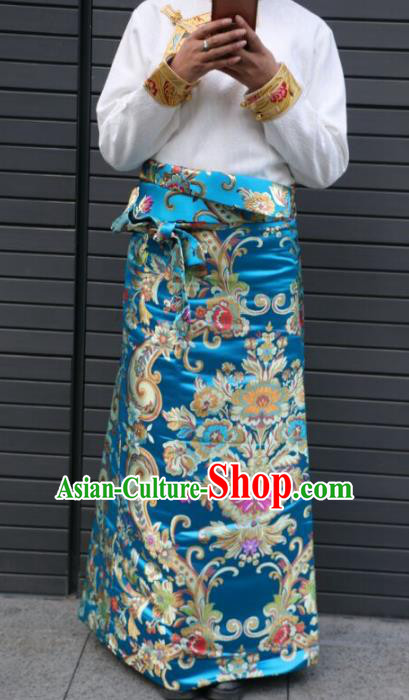 Chinese Traditional Minority Dance Costume Zang Nationality Tibetan Minority Blue Skirt for Women