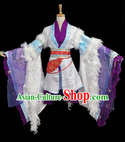 Chinese Ancient Cosplay Fairy Purple Hanfu Dress Traditional Qin Dynasty Princess Costume for Women