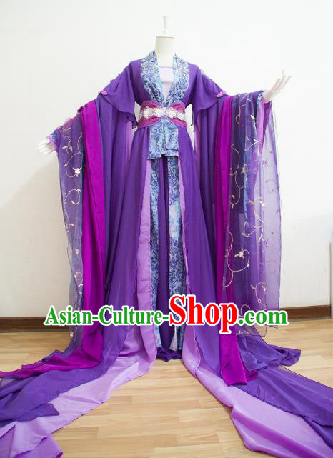 Chinese Ancient Cosplay Empress Purple Hanfu Dress Traditional Tang Dynasty Queen Embroidered Costume for Women