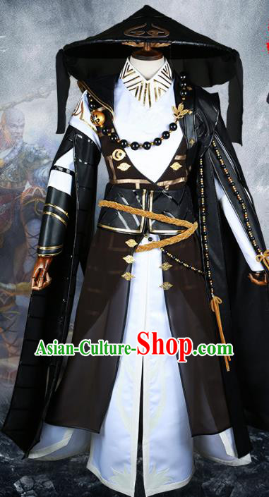 Chinese Ancient Cosplay General Costume Swordsman Body Armour and Bamboo Hat for Men