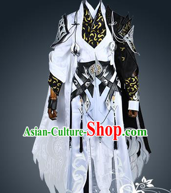 Chinese Ancient Nobility Childe Warrior White Costume Cosplay Swordsman Clothing for Men