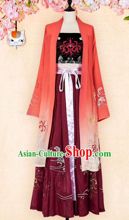 Chinese Traditional Ancient Clothing Song Dynasty Young Lady Embroidered Hanfu Dress for Women