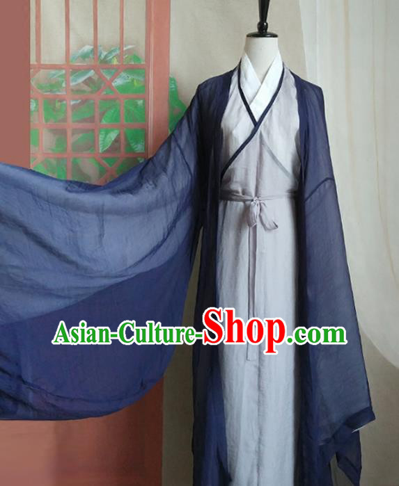 Chinese Traditional Ancient Taoist Nun Hanfu Dress Jin Dynasty Swordswoman Costumes for Women