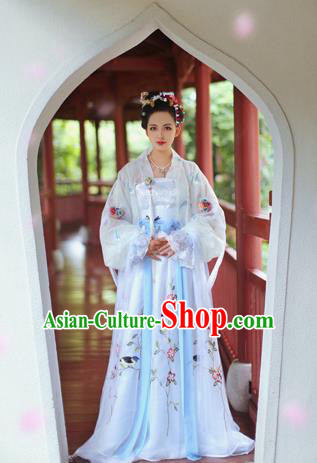 Chinese Ancient Song Dynasty Princess Dress Nobility Lady Embroidered Costume for Women