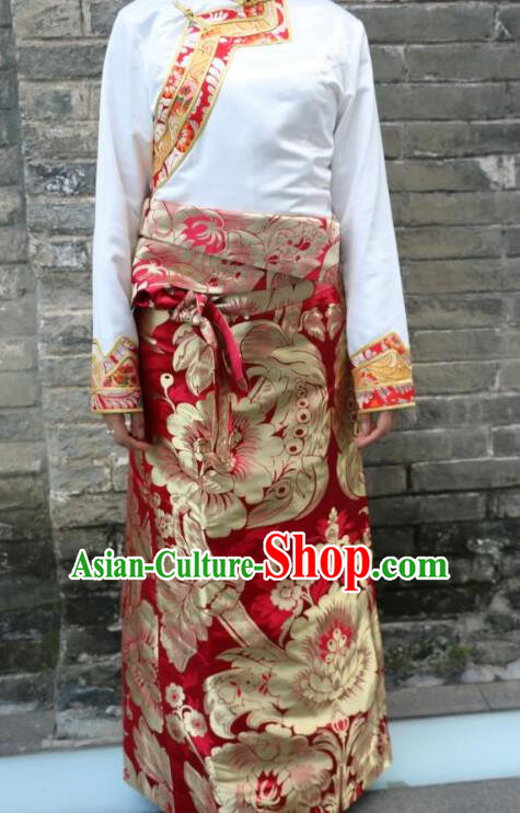 Chinese Traditional Minority Dance Costume Red Tibetan Skirt Zang Nationality Clothing for Women