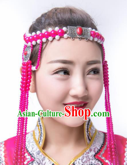 Traditional Chinese Folk Dance Rosy Beads Tassel Hair Accessories, Mongolian Minority Hair Jewelry Dance Headwear for Women