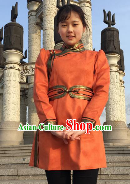 Chinese Traditional Female Ethnic Costume Orange Suede Fabric Mongolian Robe, China Mongolian Minority Folk Dance Clothing for Women