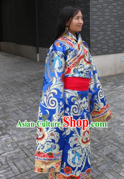Chinese Traditional Minority Wedding Costume Royalblue Tibetan Robe Zang Nationality Clothing for Women