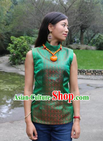 Chinese Traditional Minority Wedding Costume Green Tibetan Vest Zang Nationality Clothing for Women