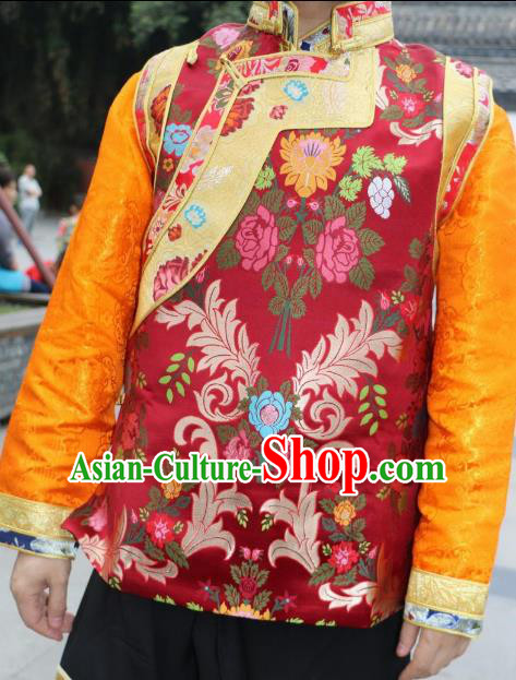Chinese Traditional Minority Wedding Costume Red Tibetan Vest Zang Nationality Clothing for Women