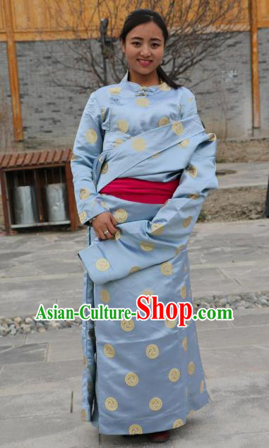 Chinese Traditional Minority Wedding Costume Blue Satin Tibetan Robe Zang Nationality Clothing for Women