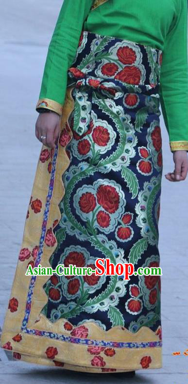 Chinese Traditional Minority Costume Tibetan Navy Brocade Skirt Zang Nationality Clothing for Women