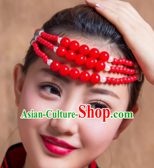 Traditional Chinese Folk Dance Hair Accessories, Mongolian Minority Red Beads Hair Jewelry Dance Headband for Women