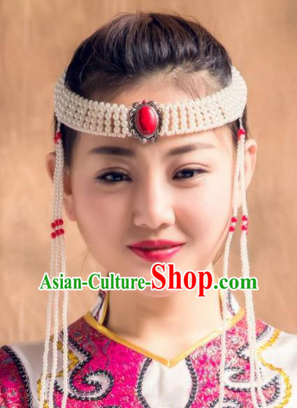 Traditional Chinese Folk Dance Tassel Hair Accessories, Mongolian Minority Bride Hair Jewelry Dance Headband for Women