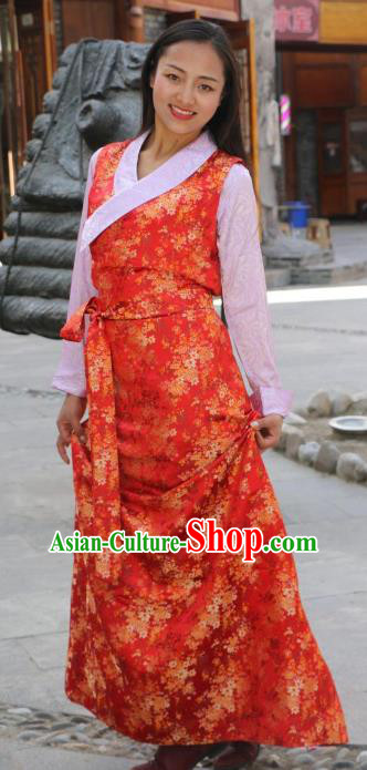 Chinese Traditional Red Tibetan Dress Minority Costume Zang Nationality Clothing for Women