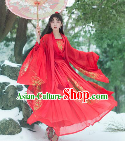Chinese Traditional Jin Dynasty Princess Red Dress Ancient Swordswoman Embroidered Clothing for Women
