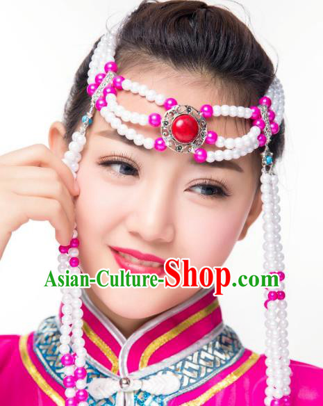 Chinese Traditional Folk Dance Tassel Hair Accessories, Mongolian Minority Bride Rosy Beads Hair Jewelry Dance Headband for Women