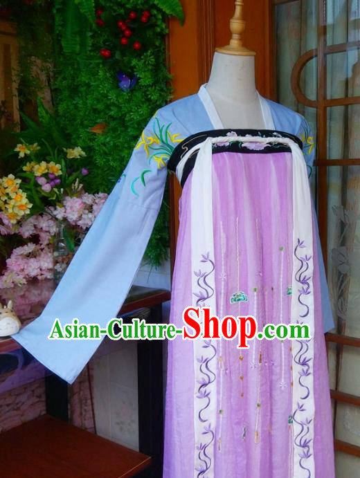 Chinese Traditional Tang Dynasty Young Lady Hanfu Dress Ancient Nobility Lady Embroidered Clothing for Women