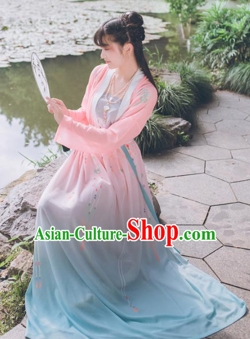 Chinese Traditional Song Dynasty Young Lady Costume Ancient Princess Embroidered Clothing for Women