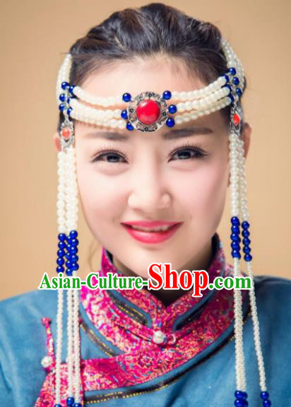 Chinese Traditional Folk Dance Pearls Tassel Hair Accessories, Mongolian Minority Princess Headwear for Women