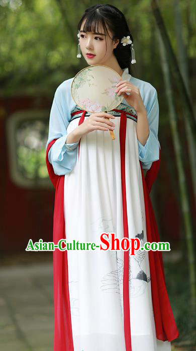 Chinese Traditional Tang Dynasty Young Lady Costumes Ancient Court Maid Clothing for Women
