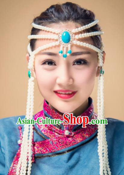 Chinese Traditional Folk Dance Kallaite Hair Accessories White Beads Hair Clasp, Mongolian Minority Dance Headwear for Women