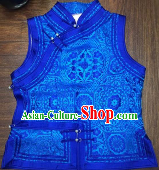 Chinese Traditional Female Ethnic Costume Blue Vest, China Mongolian Minority Folk Dance Waistcoat Clothing for Women