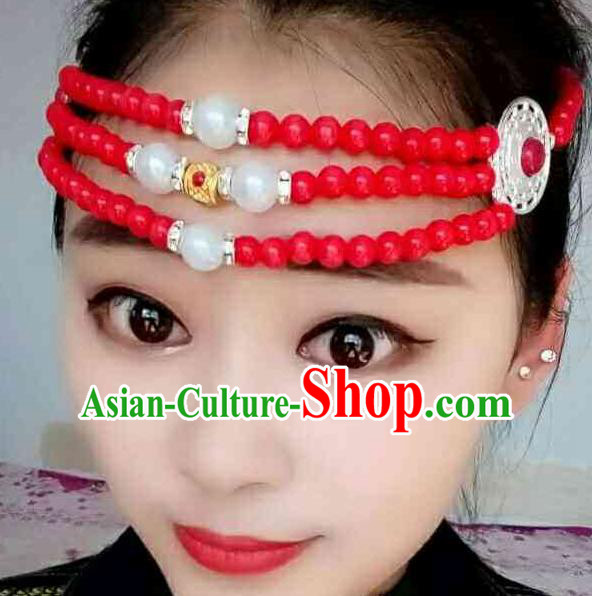 Chinese Traditional Ethnic Folk Dance Hair Accessories Red Beads Hair Clasp, Mongolian Minority Dance Headwear for Women