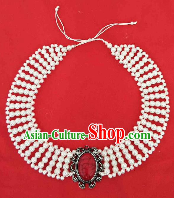 Chinese Traditional Ethnic White Beads Hair Accessories, Mongolian Minority Folk Dance Headwear for Women