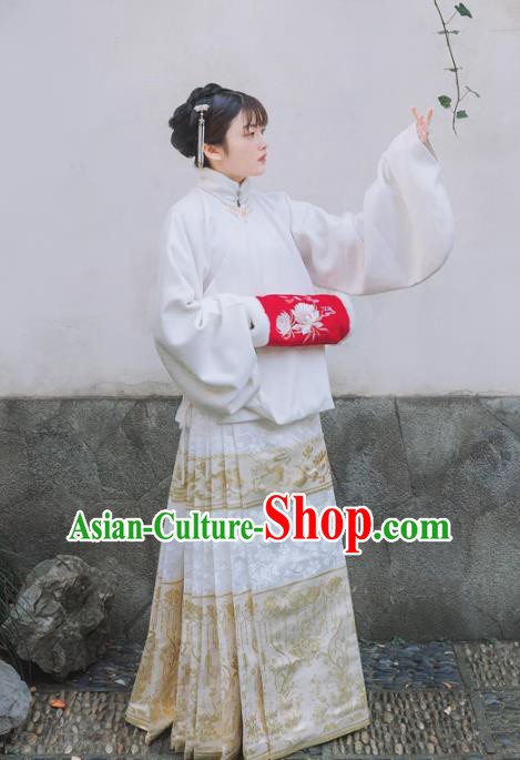 Chinese Traditional Ming Dynasty Nobility Lady White Skirt Ancient Court Maid Clothing for Women