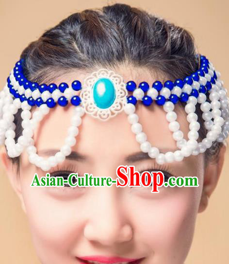Chinese Traditional Mongol Ethnic Hair Accessories, Mongolian Minority Folk Dance White Beads Tassel Headwear for Women