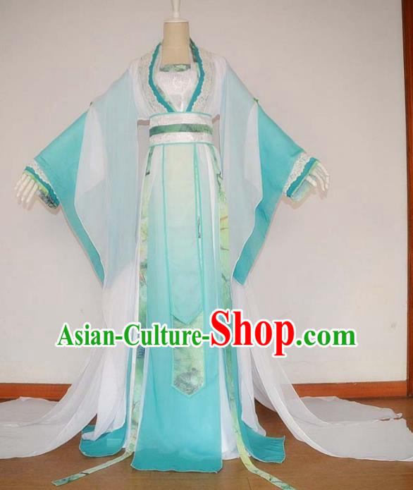 Chinese Han Dynasty Princess Blue Hanfu Dress Ancient Fairy Traditional Costume for Women