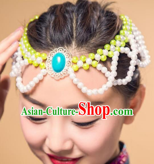 Chinese Traditional Mongol Ethnic Hair Accessories, Mongolian Minority Folk Dance Green Beads Tassel Headwear for Women