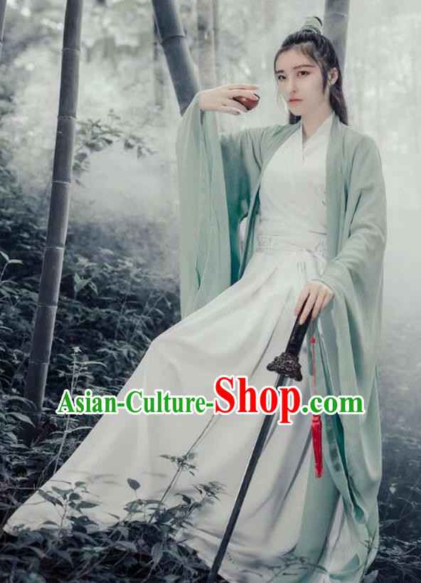 Chinese Ancient Heroine Costumes Wei Jin Dynasty Swordswoman Hanfu Dress Clothing for Women