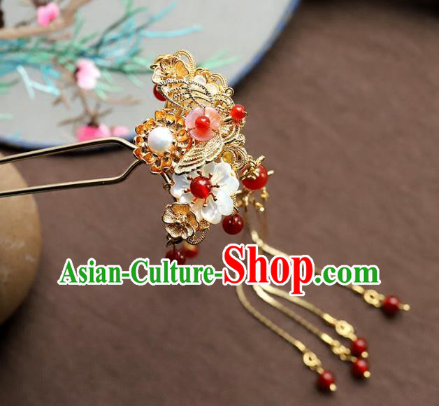Chinese Ancient Handmade Bride Hair Clip Classical Hair Accessories Hanfu Golden Butterfly Hairpins for Women